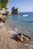 Rock and Rowing Boat, Near Brela, Makarska Riviera, Dalmata, Croatia, Europe Photographic Print by Markus Lange
