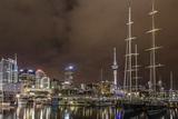 Night View of the City of Auckland from Auckland Harbour, North Island, New Zealand, Pacific Photographic Print by Michael Nolan
