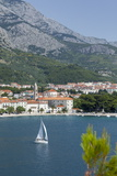 Makarska Harbour with Yacht and Mountains Behind, Dalmatian Coast, Croatia, Europe Photographic Print by John Miller