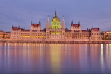 Hungarian Parliament Building and the River Danube at Sunset, Budapest, Hungary, Europe Photographic Print by Doug Pearson