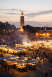Elevated View of the Koutoubia Mosque at Dusk from Djemaa El-Fna Photographic Print by Gavin Hellier