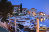 Harbour Lit Up at Dusk, Bol, Brac Island, Dalmatian Coast, Croatia, Europe Photographic Print by John Miller