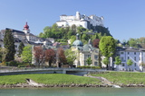 River Salzach with Hohensalzburg Castle and Kajetanerkirche Church Photographic Print by Markus Lange