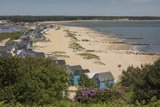 Beach Huts and Sand Dunes on Mudeford Spit at Hengistbury Head Fotografisk tryk af Roy Rainford