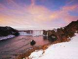 Godafoss Waterfall at Sunrise, Iceland, Polar Regions Photographic Print by Christian Kober