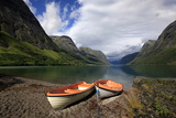Boats Pulled Up by a Fjord, Songdal Region, Near Bergen, Western Norway, Scandinavia, Europe Photographic Print by David Pickford