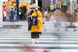 Shinto Monk in Traditional Dress Collecting Alms (Donations), Ginza, Tokyo, Honshu, Japan, Asia Photographic Print by Gavin Hellier