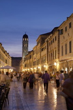 Placa, Stadun, Lit Up at Dusk with Cafes and People Walking, Dubrovnik, Croatia, Europe Photographic Print by John Miller