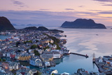 Elevated View over Alesund Illuminated at Dusk Photographic Print by Doug Pearson