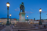 Bronze Statue of the Town Founder Gustav Adolf at Dusk Photographic Print by Frank Fell