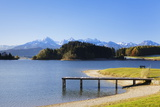 Jetty at Forggensee Lake and Allgau Alps Photographic Print by Markus Lange