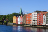 Nidaros Cathedral, Old Fishing Warehouses and Gamle Bybro, Trondheim Photographic Print by Doug Pearson