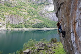 A Female Climber Tackles a Steep Cliff at Loven, Near Aurland, Western Norway, Scandinavia, Europe Photographic Print by David Pickford