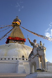 Warrior on Elephant Guards the North Side of Boudhanath Stupa Photographic Print by Peter Barritt
