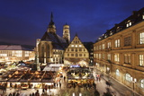 Christmas Fair on Schillerplatz Square with Stiftskirche Church Photographic Print by Markus Lange
