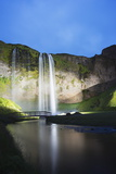 Seljalandsfoss Waterfall Lit Up at Night, Southern Region, Iceland, Polar Regions Photographic Print by Christian Kober