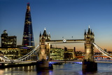 View of the Shard and Tower Bridge Standing Tall Above the River Thames at Dusk Photographic Print by Charles Bowman