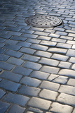 Cobbled Street, Manhole Cover in Old Town, Prague, Czech Republic, Europe Photographic Print by Martin Child