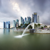 The Merlion Statue with the City Skyline in the Background Photographic Print by Gavin Hellier
