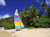 Colourful Yacht Moored on St James Beach, Barbados, Caribbean Papier Photo par John Miller