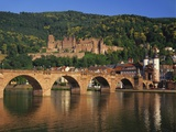 Heidelberg Castle, Alte Brucke and the River Neckar, Heidelberg, Baden Wurttemberg, Germany Photographic Print by Gavin Hellier