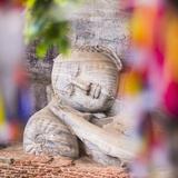 Buddhist Prayer Flags and Reclining Buddha in Nirvana at Gal Vihara Rock Temple Photographic Print by Matthew Williams-Ellis