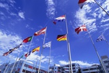 Flags of Europe in Front of the Europazentrum, Kirchberg, Luxembourg Photographic Print by Tim Hall