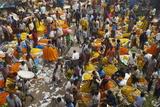 Mullik Ghat Flower Market, Kolkata (Calcutta), West Bengal, India, Asia Lámina fotográfica por Bruno Morandi