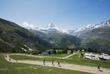 Runners in the Zermatt Marathon and the Matterhorn, Valais, Swiss Alps, Switzerland, Europe Photographic Print by Christian Kober