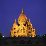 Sacre Coeur Basilica at Night, Paris, France Photographic Print by Roy Rainford