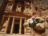 Camel and Low Angle View of the Khazneh, Petra, Jordan Photographic Print by Neale Clarke