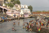 Temple at Har-Ki-Pairi, on Bank of River Ganges, Haridwar, Uttarakhand, India, Asia Photographic Print by Tony Waltham