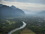 View from Hot Air Balloon Ride, Vang Vieng, Laos, Indochina, Southeast Asia, Asia Photographic Print by Ben Pipe