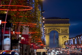 Champs Elysees and Arc De Triomphe at Dusk, Paris, France, Europe Photographic Print by Charles Bowman