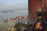People Bathing in the Hooghly River from a Ghat Near the Howrah Bridge Photographic Print by Bruno Morandi