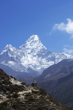 Buddhist Stupa on Trail with Ama Dablam Behind Photographic Print by Peter Barritt