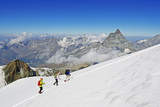 Climbers on Breithorn Mountain Photographic Print by Christian Kober