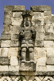 Stone Carved Atlantes Figures on the Back of the Mayan Ruins of El Palacio De Las Mascarones Photographic Print by John Woodworth