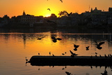 Sunset on the Ghats at Pushkar Holy Lake, Pushkar, Rajasthan, India, Asia Photographic Print by  Godong