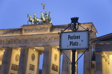 Brandenburg Gate (Brandenburger Tor) and Quadriga Winged Victory and Road Sign Pariser Platz Photographic Print by Markus Lange