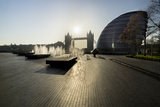Fountains Glisten at More Place with City Hall and Tower Bridge Behind Photographic Print by Charles Bowman