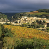 View over Village and Minervois Vineyards, Minerve, Languedoc-Roussillon, France, Europe Photographic Print by Stuart Black