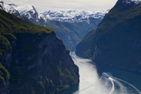 Cruise Boat on Fjord Photographic Print by Doug Pearson