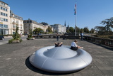 Doughnut Bench, Luxembourg City, Luxembourg, Europe Photographic Print by Charles Bowman