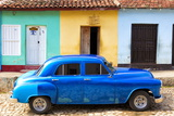Bright Blue Vintage American Car Parked in Front of Colourful Painted Colonial Houses Photographic Print by Lee Frost