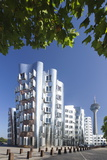 Neuer Zollhof, Designed by Frank Gehry, and Rheinturm Tower Photographic Print by Markus Lange