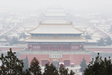 Snow Covered Forbidden City Palace Museum UNESCO World Heritage Site Beijing China Photographic Print by Christian Kober