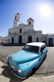 Fisheye Image of Vintage American Car and Church Photographic Print by Lee Frost