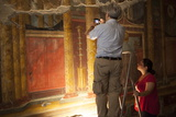 Archeologists and Restorers Studing the Frescos at Poppea Villa (Villa Poppaea) Photographic Print by Oliviero Olivieri