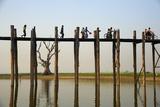 Taung Thama Lake and U Bein Bridge at Amarapura, Mandalay Province, Myanmar (Burma), Asia Photographic Print by  Tuul
